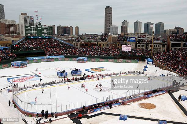 A general view of action between the Chicago Blackhawks and the Detroit Red Wings during the NHL Winter Classic at Wrigley Field on January 1 2009 in...