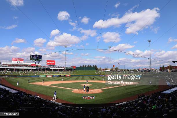 General view of action between the Chicago Cubs and the Oakland Athletics during the fourth inning of the spring training game at Sloan Park on...