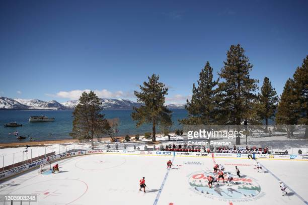 General view of action between the Colorado Avalanche and the Vegas Golden Knights during the 'NHL Outdoors At Lake Tahoe' at the Edgewood Tahoe...