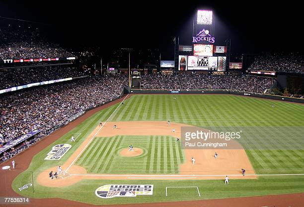 General view of action between the Colorado Rockies and the Boston Red Sox during Game Three of the 2007 World Series at Coors Field on October 27...