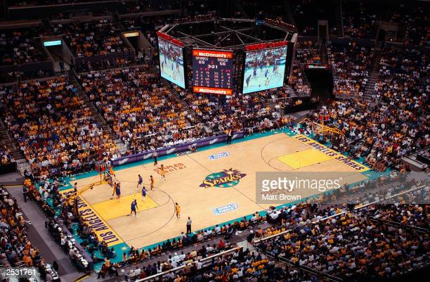 General view of action between the Detroit Shock and the Los Angeles Sparks in Game one of the 2003 WNBA Finals on September 12 2003 at Staples...