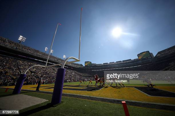 A general view of action between the LSU Tigers and the Arkansas Razorbacks at Tiger Stadium on November 11 2017 in Baton Rouge Louisiana