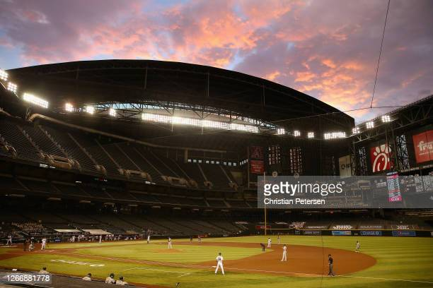 General view of action between the Oakland Athletics and the Arizona Diamondbacks during the second inning of the MLB game at Chase Field on August...