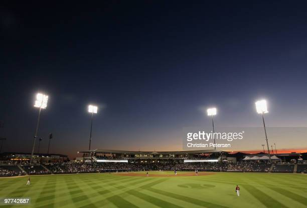 General view of action between the San Francisco Giants and the Texas Rangers during the MLB spring training game at Surprise Stadium on March 15...