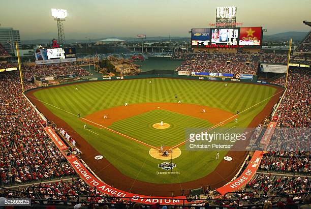 General view of action between the Texas Rangers and the Los Angeles Angels of Anaheim during the MLB game on April 5 2005 at Angel Stadium of...