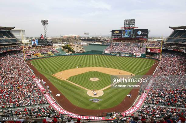 General view of action between the Texas Rangers and the Los Angeles Angels of Anaheim during the MLB game at Angel Stadium on April 4 2007 in...