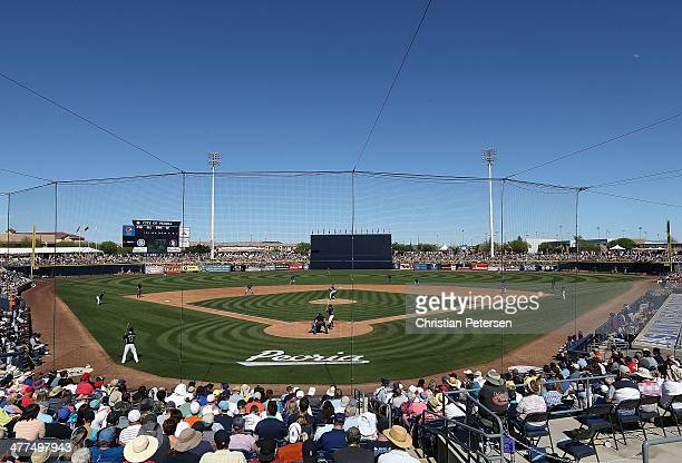 General view of action between the Texas Rangers and the Seattle Mariners during the spring training game at Peoria Stadium on March 9, 2014 in...