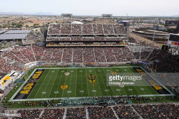 General view of action between the USC Trojans and the Arizona State Sun Devils during the first half of the NCAAF game at Sun Devil Stadium on...