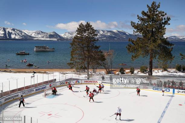General view of action between the Vegas Golden Knights and the Colorado Avalanche during the 'NHL Outdoors At Lake Tahoe' at the Edgewood Tahoe...