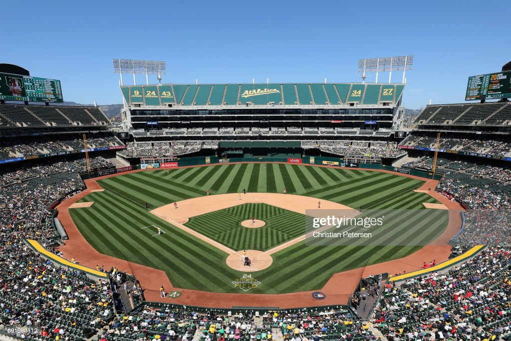 General view of action between the Washington Nationals and the Oakland Athletics during the fifth inning of the MLB game at Oakland Coliseum on June 3, 2017 in Oakland, California. The Athletics defeated the Nationals 10-4.