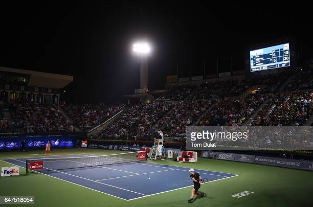 General view of action duirng the semi final match between Andy Murray of Great Britain and Lucas Pouille of France on day six of the ATP Dubai Duty...