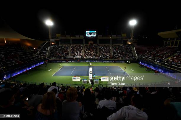 A general view of action during a quarter final match between Stefanos Tsitsipas of Greece and Malek Jaziri of Tunisia on day four of the ATP Dubai...