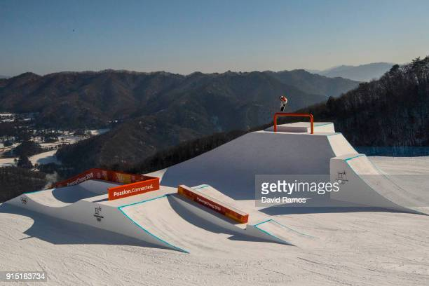 A general view of action during a slope style training session ahead of the PyeongChang 2018 Winter Olympic Games at Bokwang Phoenix Snow Park on...