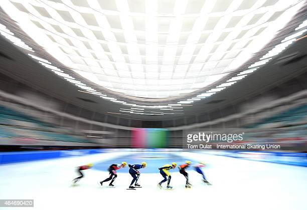 General view of action during day two of the ISU World Junior Short Track Speed Skating Championships at Osaka Pool on February 28 2015 in Osaka Japan