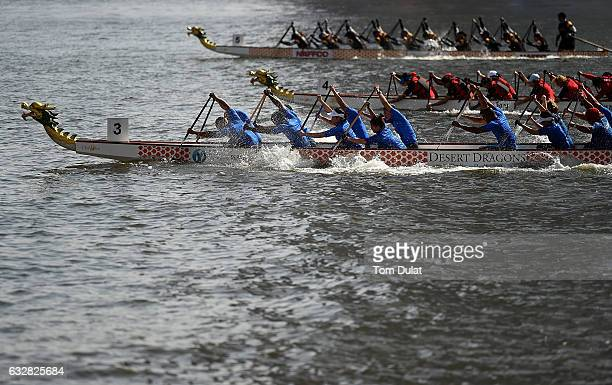General view of action during Dubai Water Canal Dragon Boat Festival on January 27 2017 in Dubai United Arab Emirates