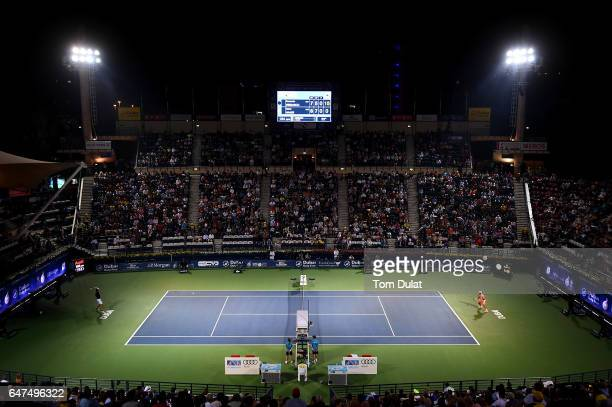 General view of action during semi final match between Robin Haase of Netherlands and Fernando Verdasco of Spain on day six of the ATP Dubai Duty...