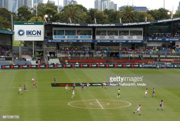 A general view of action during the 2018 AFLW Grand Final match between the Western Bulldogs and the Brisbane Lions at IKON Park on March 24 2018 in...
