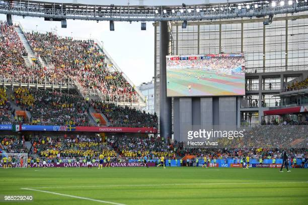 General view of action during the 2018 FIFA World Cup Russia group F match between Mexico and Sweden at Ekaterinburg Arena on June 27 2018 in...
