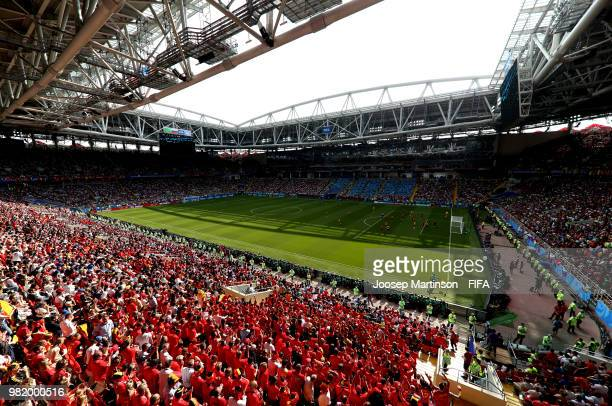 General view of action during the 2018 FIFA World Cup Russia group G match between Belgium and Tunisia at Spartak Stadium on June 23 2018 in Moscow...