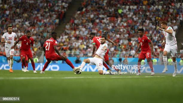 A general view of action during the 2018 FIFA World Cup Russia group G match between Panama and Tunisia at Mordovia Arena on June 28 2018 in Saransk...