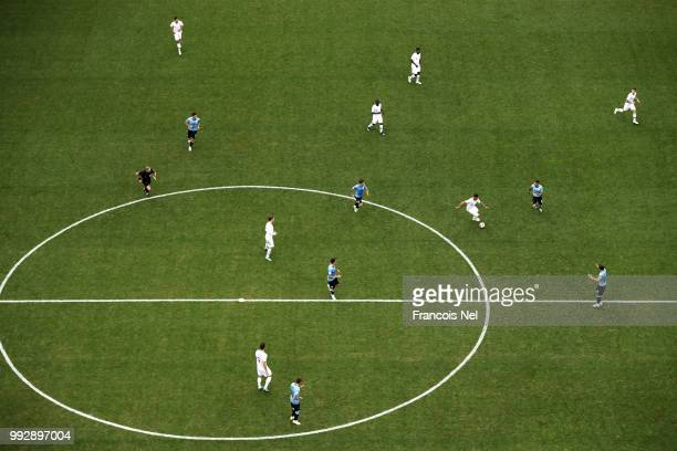 General view of action during the 2018 FIFA World Cup Russia Quarter Final match between Uruguay and France at Nizhny Novgorod Stadium on July 6 2018...