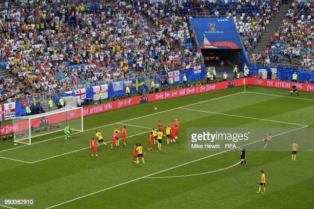 General view of action during the 2018 FIFA World Cup Russia Quarter Final match between Sweden and England at Samara Arena on July 7 2018 in Samara...