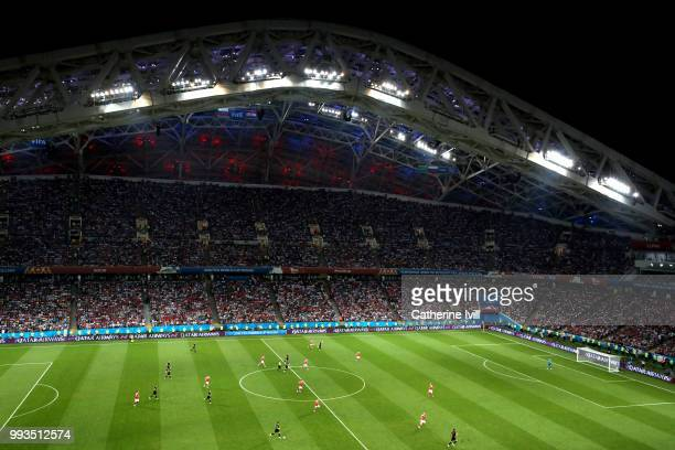General view of action during the 2018 FIFA World Cup Russia Quarter Final match between Russia and Croatia at Fisht Stadium on July 7 2018 in Sochi...
