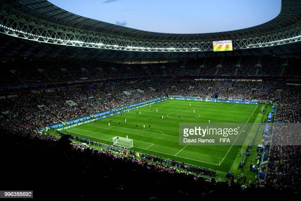 A general view of action during the 2018 FIFA World Cup Russia Semi Final match between England and Croatia at Luzhniki Stadium on July 11 2018 in...