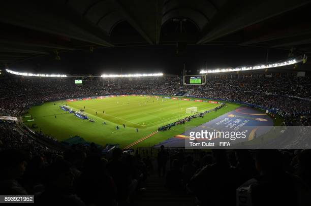 A general view of action during the FIFA Club World Cup UAE 2017 final match between Gremio and Real Madrid at Zayed Sports City Stadium on December...
