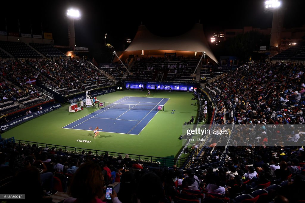 General view of action during the final match between Caroline Wozniacki of Denmark and Elina Svitolina of Ukraine on day seven of the WTA Dubai Duty Free Tennis Championship at the Dubai Tennis Stadium on February 25, 2017 in Dubai, United Arab Emirates.