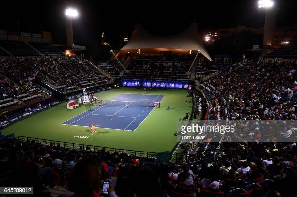General view of action during the final match between Caroline Wozniacki of Denmark and Elina Svitolina of Ukraine on day seven of the WTA Dubai Duty...