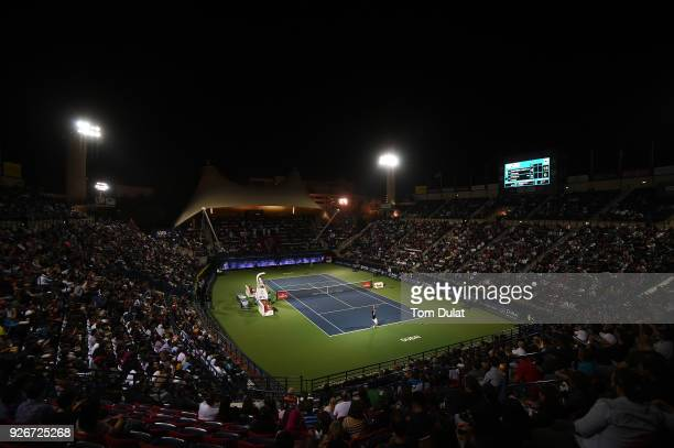 A general view of action during the final match between Roberto Bautista Agut of Spain and Lucas Pouille of France on day six of the ATP Dubai Duty...