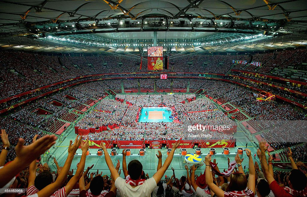 A general view of action during the FIVB World Championships match between Poland and Serbia on August 30, 2014 in Warsaw, Poland.
