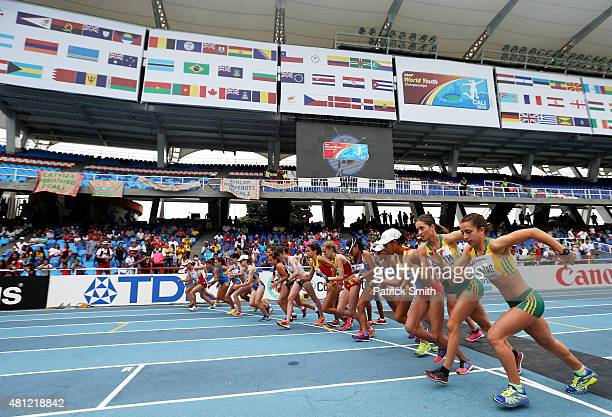 A general view of action during the Girls 5000 Meters Race Walk Final on day four of the IAAF World Youth Championships Cali 2015 on July 18 2015 at...