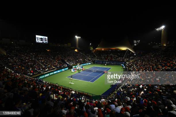 General view of action during the men's final match between Novak Djokovic of Serbia and Stefanos Tsitsipas of Greece on Day 13 of the Dubai Duty...