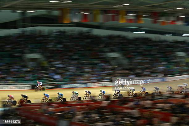 General view of action during the Men's points race on day two of the UCI Track Cycling World Cup at Manchester Velodrome on November 2, 2013 in...