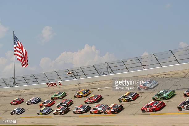 A general view of action during the NASCAR Winston Cup EA Sports 500 at Talladega Superspeedway on October 6 2002 in Talladega Alabama