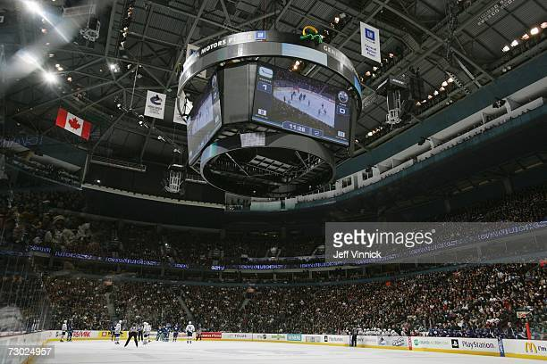 General view of action during the NHL game between the Vancouver Canucks and the Edmonton Oilers on January 5, 2007 at General Motors Place in...