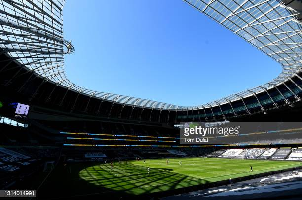 General view of action during the Premier League 2 match between Tottenham Hotspur and Liverpool at Tottenham Hotspur Stadium on April 23, 2021 in...