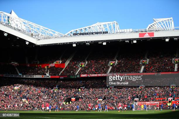 A general view of action during the Premier League match between Manchester United and Chelsea at Old Trafford on February 25 2018 in Manchester...