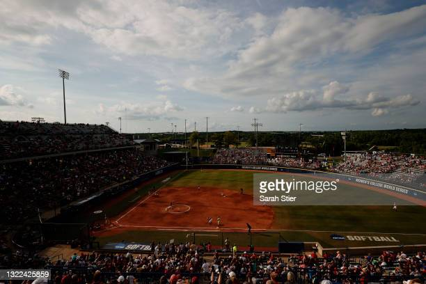 General view of action during the second inning of Game 14 of the Women's College World Series between Florida St. And Alabama on June 07, 2021 at...