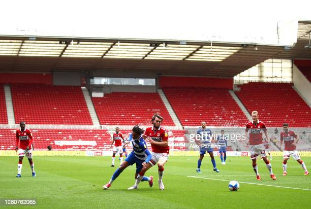 A general view of action during the Sky Bet Championship match between Middlesbrough and Reading at Riverside Stadium on October 17 2020 in...
