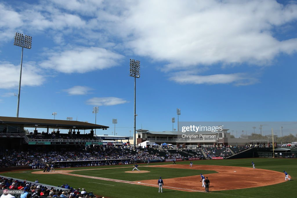 General view of action during the spring training game between the Kansas City Royals and Texas Rangers at Surprise Stadium on February 26, 2017 in Surprise, Arizona.