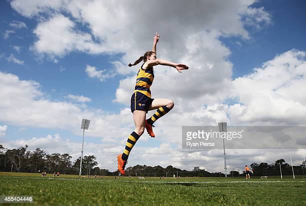 A general view of action during the Sydney Women's AFL Grand Final match between Sydney University and UNSW/ES Stingrays at Blacktown Olympic Park on...