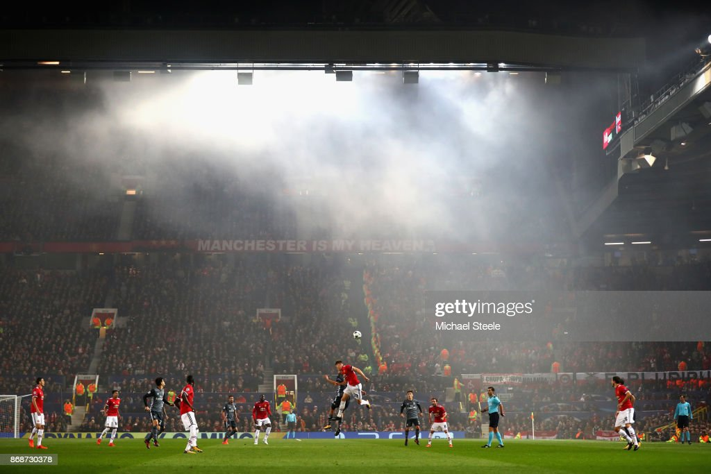 A general view of action during the UEFA Champions League group A match between Manchester United and SL Benfica at Old Trafford on October 31, 2017 in Manchester, United Kingdom.