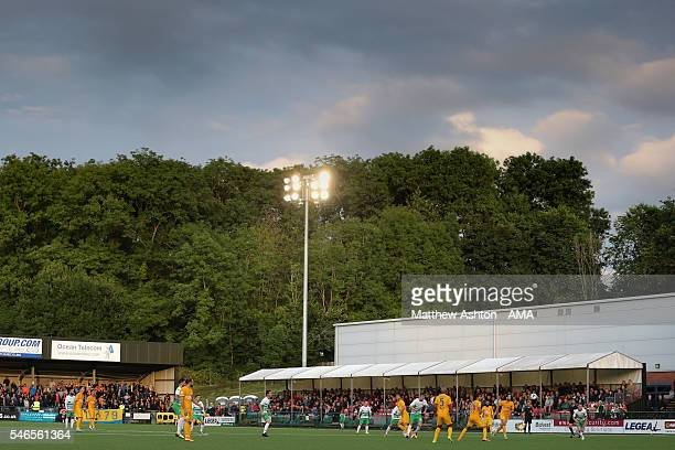 A general view of action during the UEFA Champions League Qualifier match between The New Saints and Apoel Nicosia at Park Hall on July 12 2016 in...