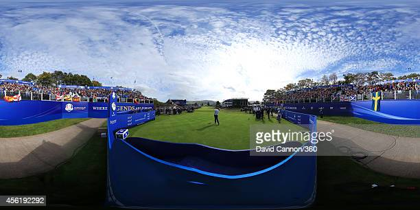 General view of action from the 1st hole during the Afternoon Foursomes of the 2014 Ryder Cup on the PGA Centenary course at the Gleneagles Hotel on...