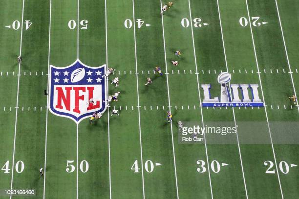 A general view of action in the first half during Super Bowl LIII between the Los Angeles Rams and the New England Patriots at MercedesBenz Stadium...