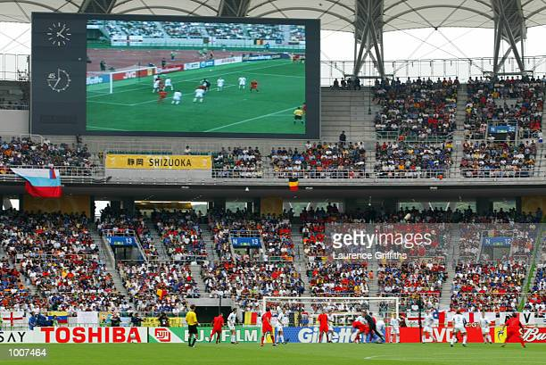General view of action in the first half during the Belgium v Russia Group H World Cup Group Stage match played at the Shizuoka Stadium Ecopa...