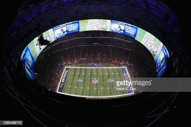 A general view of action in the second half during Super Bowl LIII between the Los Angeles Rams and the New England Patriots at MercedesBenz Stadium...